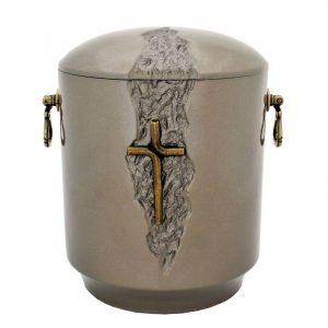 Rusva matinė urna su rankenėlėmis ir stilizuotu kryželiu