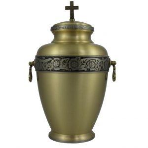 Aukso spalvos žalvarinė urna su sidabro spalvos ornamentu