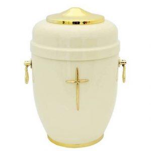 Balta urna su aukso spalvos rankenėlėmis ir kryželiu