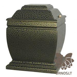 Aukso spalvos linijomis dekoruota juoda matinė ąžuolinė urna