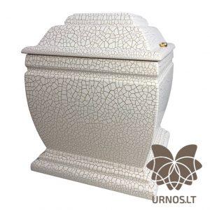 Aukso spalvos linijomis dekoruota balta matinė ąžuolinė urna